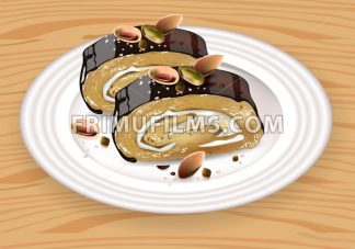 Homemade Chocolate and pistachio roll dessert on white plate Vector illustration - frimufilms.com