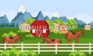 Horses farm, green field Vector. Farm ville summer day backgrounds - frimufilms.com