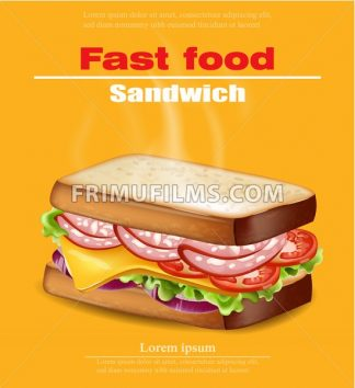 Hot Sandwich Vector realistic. Fast food mock up 3d detailed illustration - frimufilms.com