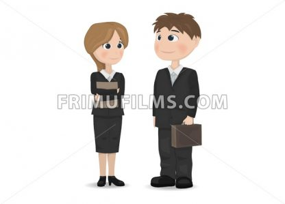 Man and woman talking Vector. Businessman, teacher or manager professions Vector. cartoon character - frimufilms.com