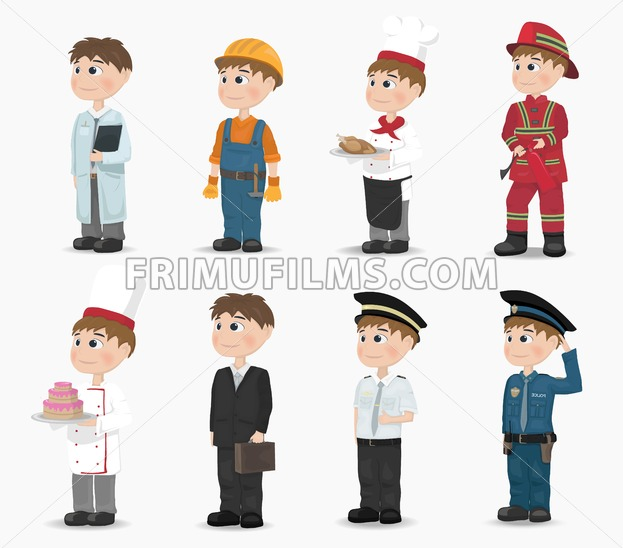 Man different professions collection Vector. Fireman, policeman, constructor, doctor cook pilot Cartoon character - frimufilms.com