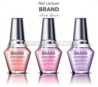 Nails polish product packaging Vector mock up. Realistic tubes set. place for text. pastel colors - frimufilms.com