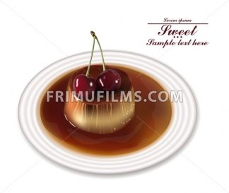 Panna cotta dessert Vector. Sweet breakfast with cherry on white plate - frimufilms.com