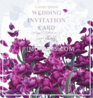 Peony flowers card Vector. Vintage old backdrop. Beautiful floral decor. ultra violet color - frimufilms.com