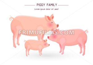 Pig family card Vector. cartoon illustration. white background - frimufilms.com