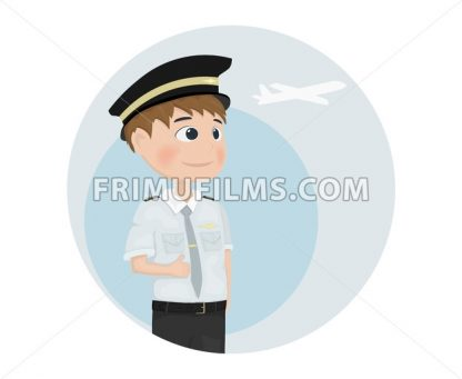Pilot Vector template. Cartoon characters isolated icon - frimufilms.com