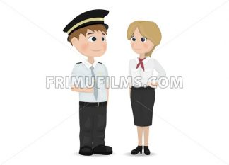 Pilot and stewardess Vector. Cartoon character isolated - frimufilms.com
