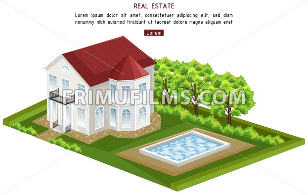 Real estate house with pool isolated Vector. architecture 3d illustration - frimufilms.com