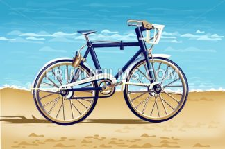 Realistic Bicycle on the beach card Vector. Detailed 3d illustration - frimufilms.com