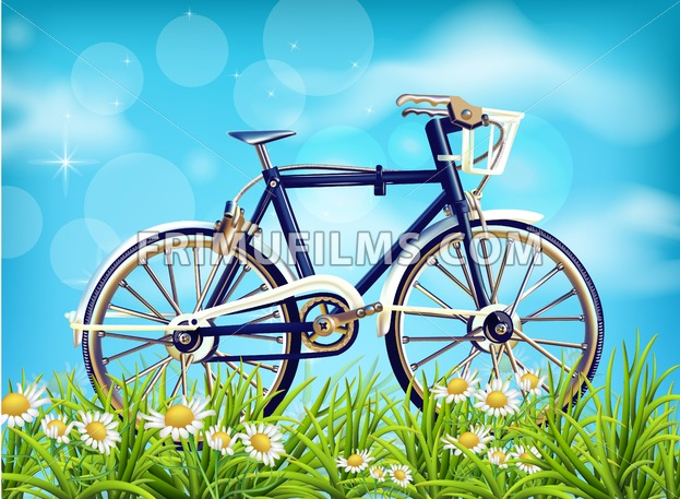 Realistic Bicycle spring background Vector. season green meadow and blue sky. Detailed 3d illustrations - frimufilms.com