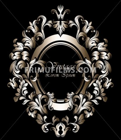 Round Golden Frame Vector. Classic rich ornamented carved decors. Baroque sophisticated design - frimufilms.com