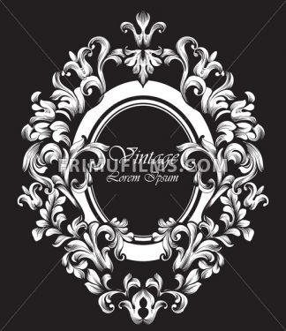 Round silver Frame Vector. Classic rich ornamented carved decors. Baroque sophisticated design - frimufilms.com