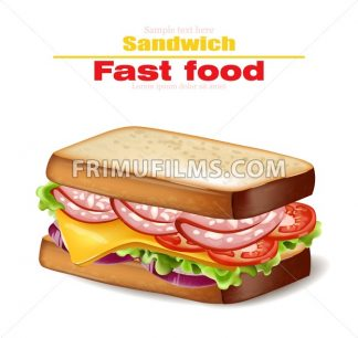 Sandwich Vector realistic. Fast food 3d detailed illustration - frimufilms.com