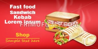 Sandwich and kebab Vector realistic mock up. Fast food 3d detailed illustration - frimufilms.com