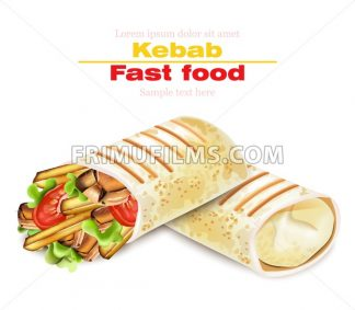 Shawarma Kebab fast food Vector. Detailed illustration - frimufilms.com