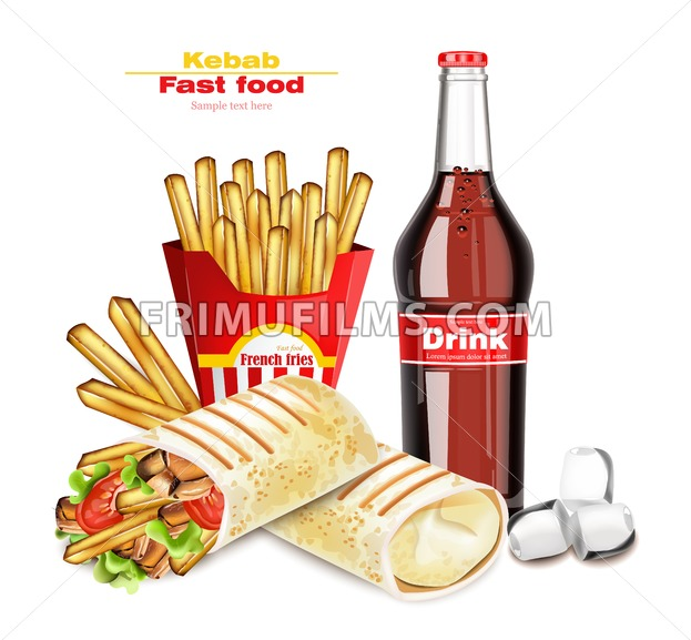 Shawarma or Kebab menu fast food Vector. Delicious shawarma with French fries and soda. 3d Detailed illustration - frimufilms.com