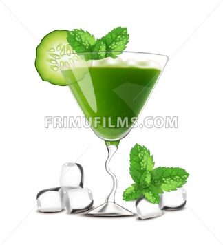 Smoothie Cocktail green drink with cucumber Vector. Realistic summer juicy refreshment - frimufilms.com