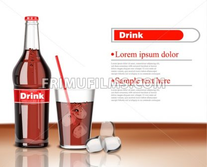 Soda drink bottle and glass pattern Vector. Product packaging realistic mock up. 3d illustration - frimufilms.com