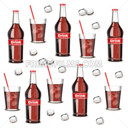 Soda drink bottle and glass pattern Vector. Summer cool background - frimufilms.com
