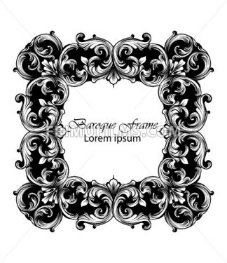 Square Frame Vector. Classic rich ornamented carved decors. Baroque sophisticated design - frimufilms.com