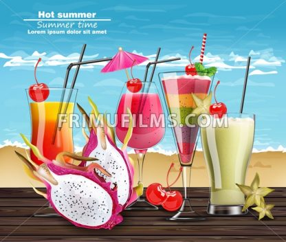 Summer Cocktail drinks Vector realistic banner. Beach hot template with exotic tropical drinks collection. 3d illustration - frimufilms.com