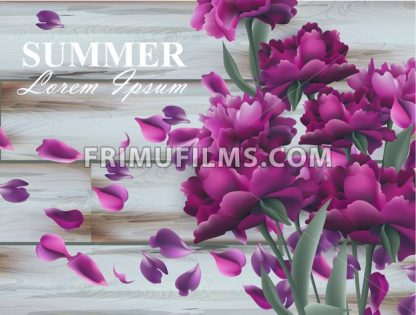 Summer background with peony bouquet on wooden background. Vector realistic 3d floral decor - frimufilms.com