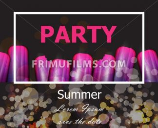 Summer party with ultra violet ice creams Vector. Modern party card - frimufilms.com