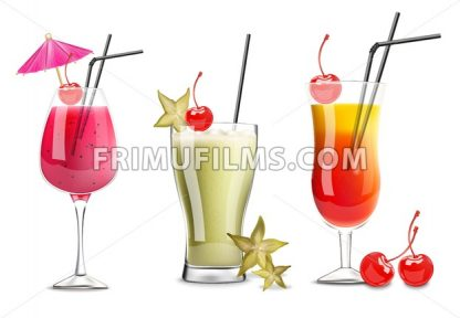 Tropic fruits cocktail glasses set collection Vector realistic. Cherry, carambola and berry fresh drinks 3d illustration - frimufilms.com