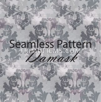 Vintage Baroque seamless texture pattern Vector. Wallpaper ornament decor. Textile, fabric, tiles. Gray color - frimufilms.com