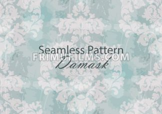 Vintage Baroque seamless texture pattern Vector. Wallpaper ornament decor. Textile, fabric, tiles. Light blue color - frimufilms.com