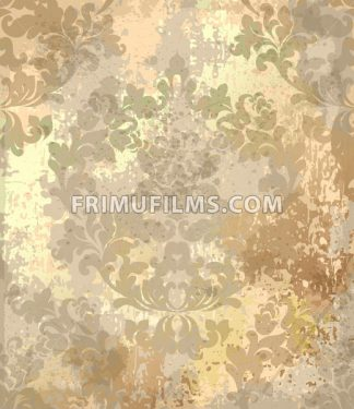 Vintage Baroque texture pattern Vector. Luxury wallpaper ornament decor. Textile, fabric, tiles. Golden color trendy - frimufilms.com
