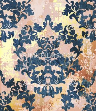 Vintage Baroque texture pattern Vector. Luxury wallpaper ornament decor. Textile, fabric, tiles. Royal blue trendy color - frimufilms.com