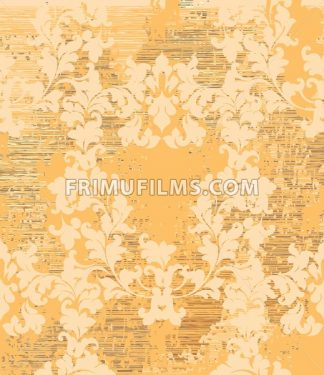 Vintage Baroque texture pattern Vector. Wallpaper ornament decor. Textile, fabric, tiles. golden color - frimufilms.com