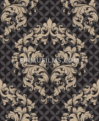 Vintage Damask Seamless pattern Vector. Luxury ornament elegant structure retro theme decors. dark color - frimufilms.com