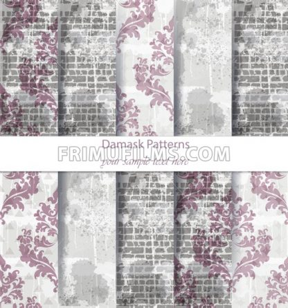 Vintage Damask patterns set collection Vector. Classic ornament various colors with abstract background textures. retro decor. Trendy color fabric - frimufilms.com