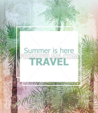 Vintage Summer travel card Vector. Palm trees tropic background - frimufilms.com
