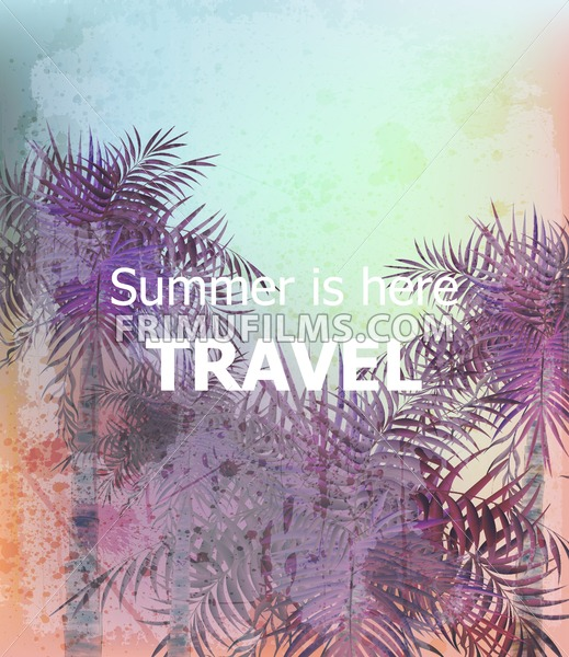 Vintage Summer travel card Vector. Palm trees tropic backgrounds. Ultra violet trendy color - frimufilms.com