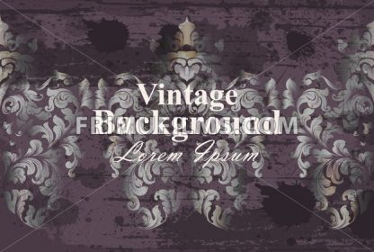 Vintage background baroque ornament Vector. Royal Luxury trendy wallpaper design. Texture, textile, decor, fabric, tile template - frimufilms.com