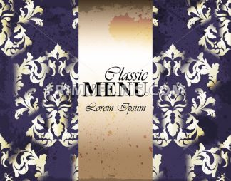 Vintage classic ornament card background Vector. Baroque classic decor. Golden frame menu template - frimufilms.com