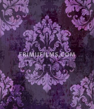 Vintage old paper texture Vector. Luxury baroque pattern wallpaper ornament decor. Textile, fabric, tiles. Violet color - frimufilms.com