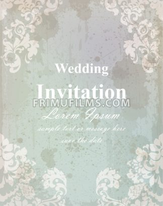 Vintage wedding invitation card. Baroque royal decor. Old paper effect style - frimufilms.com