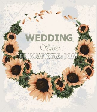 Vintage wedding invitation with sunflowers wreath Vector. Beautiful spring summer card old grunge style. 3d detailed illustration - frimufilms.com