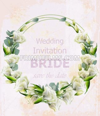 Watercolor white flowers Vector wreath. Beautiful wedding invitation. Vintage floral garland - frimufilms.com