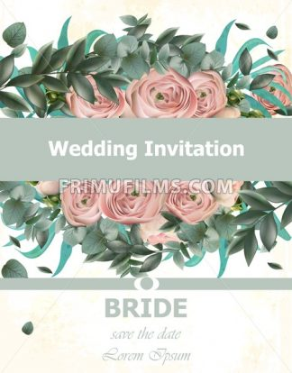 Wedding Invitation Peonies bouquet Vector. Vintage floral decor pink color - frimufilms.com