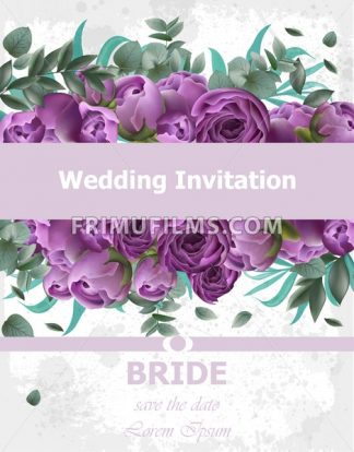 Wedding Invitation Peonies bouquet Vector. Vintage floral decor violet color - frimufilms.com