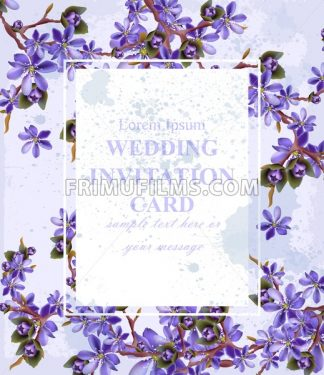 Wedding Invitation card with purple flowers Vector. Beautifull frame decoration - frimufilms.com