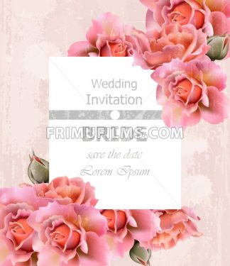 Wedding Invitation roses card Vector. Floral frame delicate decor - frimufilms.com