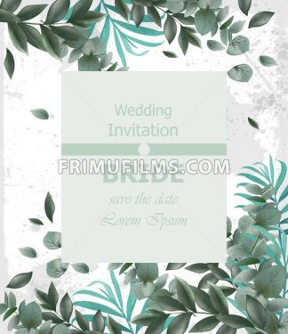 Wedding invitation Vector frame. beautiful round wreath with green leaves decor - frimufilms.com