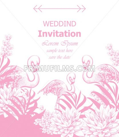 Wedding invitation Vector with summer tropic theme pink color - frimufilms.com
