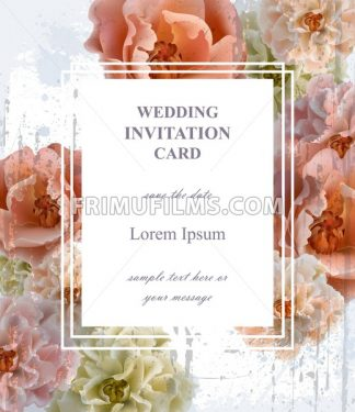 Wedding invitation card Vector. Beautiful floral frame vertical. Banner poster template 3d background - frimufilms.com